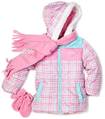 Pacific Trail - Kids Girls 2-6X Plaid Colorblock Scarf Jacket, Pink, 2T