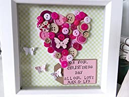 A Beautiful Button Heart Art & Personalised Stamped Message Box Frame. Bespoke Handmade for Weddings, New Baby, Birthday, Christmas, Friend etc