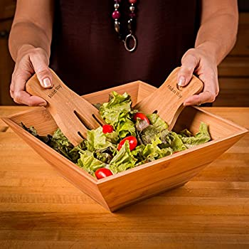 Wood Salad Bowl Set With Bamboo Servers, Best For Serving Salad, Pasta, and Fruit.