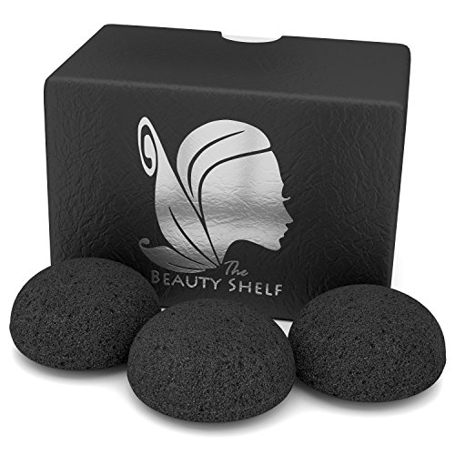 Konjac Sponge (3 Pack) Activated Bamboo Charcoal.
