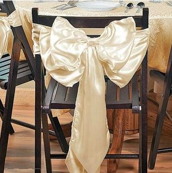 Satin Ribbon Chair Cover Bow front-882159