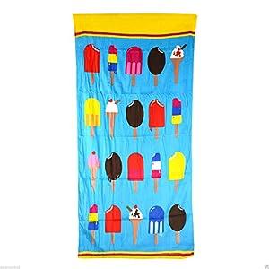 Large Microfibre/cotton Beach Bath Towel Sports Travel Camping Gym Lightweight (ice-cream (75x150cm) cotton)