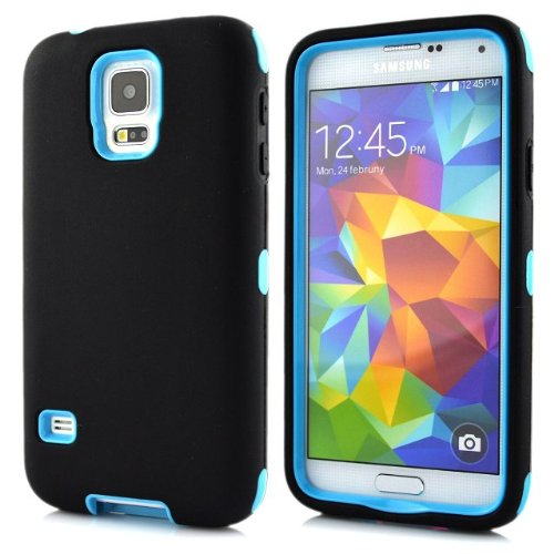 Meaci® Samsung Galaxy S5 I9600 Combo Hybrid Defender High Impact Body Armorbox Hard Pc&Silicone Case (Black&Sky Blue)