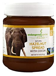 Endangered Species Natural Hazelnut Spread with Cocoa, Elephant, 9.7 Ounce