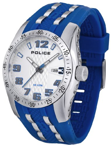 Police Topgear X Watch 12557JS/04A with Blue PU Strap and Silver Dial