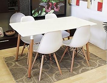 Conjunto de mesa 140 + 4 sillas Tower blancas.