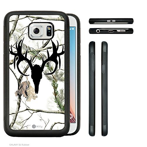 Accy Cases - Real Tree Snow White Black Buck Camo Samsung Galaxy S6 SM-G920 Rubber Silicone TPU Cell Phone Case