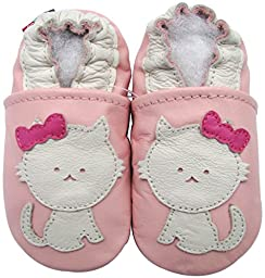 Carozoo baby girl soft sole leather infant toddler kids shoes Cat Pink 3-4y