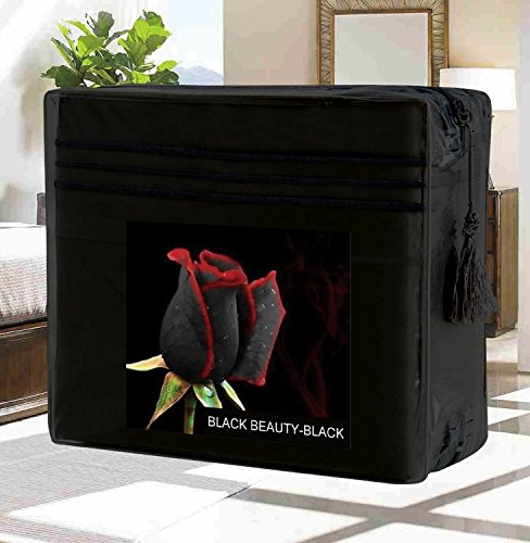 #1 Best Seller Luxury Bed Sheets Set on Amazon! - HIGHEST QUALITY Elegant Comfort® Wrinkle-Free 1500 Thread Count Egyptian Quality 4-Piece Bed Sheet Set - FLOWERS Collection - Deep Pocket, Queen, Black Beauty (Thick Cotton Sheets compare prices)