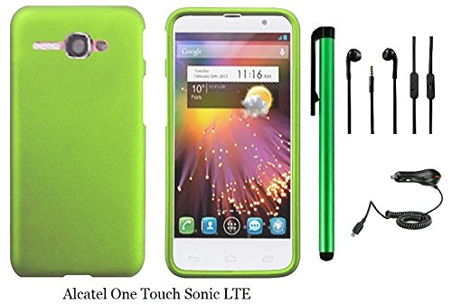Straight Talk Alcatel One Touch Sonic Lte (2014 Released) Phone Case - Premium Plain Color Protector Hard Cover Case + Car Charger + 3.5Mm Stereo Earphones + 1 Of New Assorted Color Metal Stylus Touch Screen Pen (Green)
