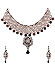 Lucky Jewellery Maroon And Green Guluband Necklace Set With Mang Tika For Women