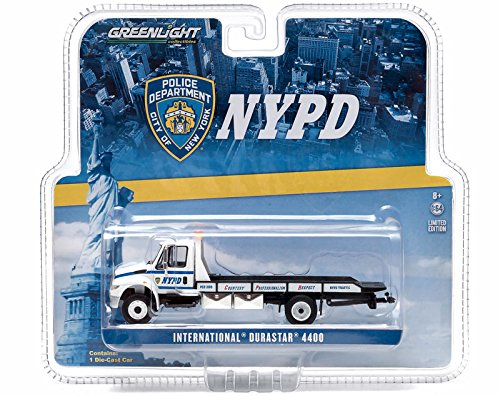 2013 International Durastar 4400 NYPD Flatbed Tow Truck 1/64 by Greenlight 29798 - 1