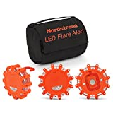 Nordstrand Road Flares Roadside Flashing Emergency LED Lights Beacon with Magnetic Base for Car or Marine - Pack of 3 with Storage Bag - Rainproof Orange