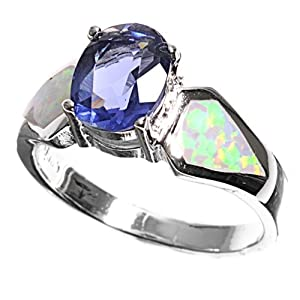 Rhodium Plated Sterling Silver Wedding & Engagement Ring Lab Opal,Blue Sapphire Solitaire Ring 9MM ( Size 6 to 9) Size 7