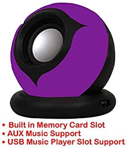 Portable Mini Speaker Supports with Memory Card/ USB / AUX Function Compatible For Panasonic Lumix CM1-PURPLE