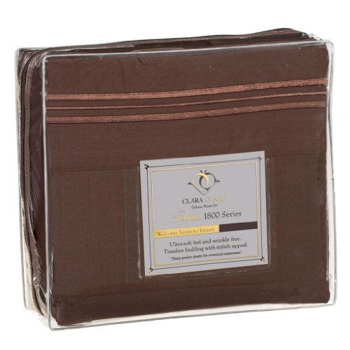 Clara Clark Premier 1800 Series 4pc Bed Sheet Set - Queen, Chocolate Brown
