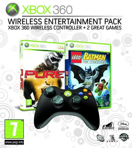 Xbox 360 Wireless Entertainment Pack (includes Xbox 360 Wireless Controller Black and Two Xbox 360 Games - Pure and Lego Batman)