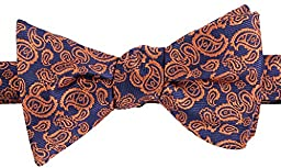 Flora&Fred Men\'s Paisley Handmade Jacquard Woven Self-Tie Bow Tie Blue and Orange