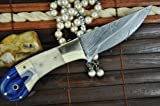 Price Cut - Custom Handmade Damascus Hunting Knife - Natural Bone & Micarat Handle