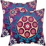 Safavieh Pillows Collection Vanessa Decorative Pillow, 22-Inch, Gold and Purple, Set of 2