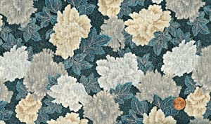 Robert Kaufman 'Christmas in Kyoto' Blue and Cream Florals on Cotton Fabric - 2yd 31in