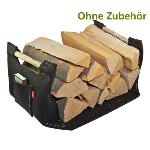 Stabiler Holzkorb braun aus Filz, Kaminholzkorb,