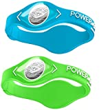Power Balance Silicone Sports Wristbands-AquaBlue-PB-Lime-S-Pack-of-2