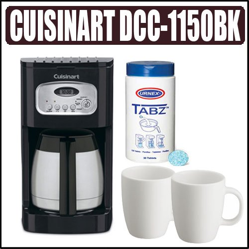 Cuisinart DCC-1150BK 10-cup Coffee Maker Plus Coffee Brewer Cleaning Tablets And a Set of Two White Porcelain 12oz. Coffee Mug's