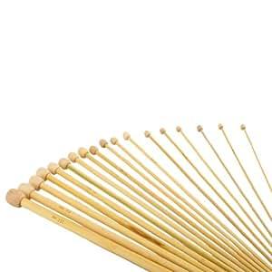 18 paires d'Aiguilles toriques š€ tricoter de tailles 36cm en bambou avec unique pointu de tailles 2.0-10.0mm