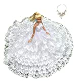 憧れの ウェディング ドレス 選べる 各種 セット バービー 人形 用 ジェニー ブライス momoko など 1/6 サイズ ドール 用 (フェザーホワイト)