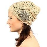 Pretty Floral Applique Soft Thin Knit Long Beanie Slouchy Skull Hat Cap Beige