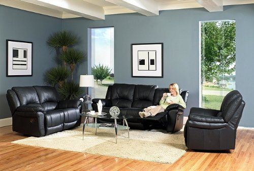 Buy Low Price Coaster 3pc Promenade Collection Black Leather Recliner Loveseat Sofa Set (VF_livset-7575S)