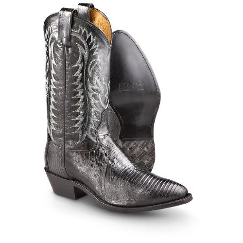 Men's Tony Lama 12 inch Western Lizard Boots Black, BLACK, 10.5