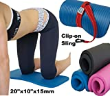 Yoga-Exercise-Workout-Knee-Pad-Cushion-wSling-15mm-Thick-Mat-Pink