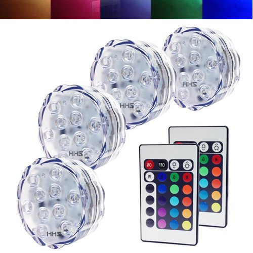 Aometech 4 X Battery Powered Remote Control Submersible Led Lights W/ 2 Ir Remotes For Wedding, Centerpiece, Halloween,Christmas , Event ,Party Lights