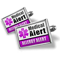 "Neonblond Cufflinks Medical Alert Purple ""Allergy Alert"" - cuff links for man by NEONBLOND Jewelry & Accessories"