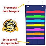 Hanging File Folder Holder Cascading Fabric Organizer- 7 Pocket Home School Office Classroom Filing Storage-Vertical Pocket Chart- Wall or Door Mounted System-Bonus Pencil Pocket and Hangers (Blue)