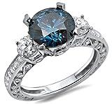 2.70ct Blue Round Diamond 3 Stone Engagement Ring 18k White Gold