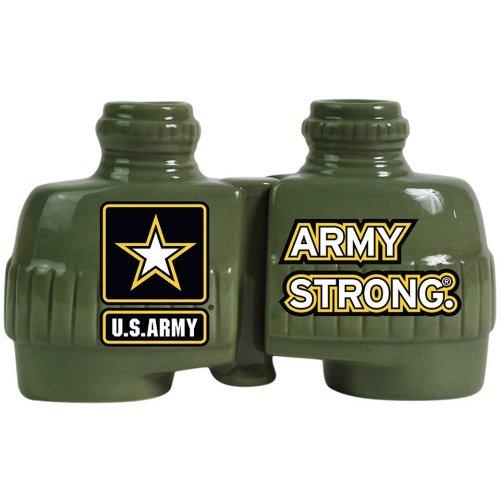 Westland Giftware Ceramic Magnetic Salt And Pepper Shaker Set, U.S. Army Strong Binoculars, 2.75-Inch, Set Of 2