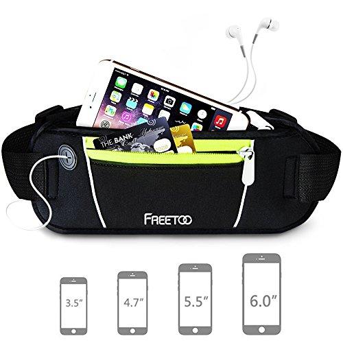 [Sport Bauchtasche] FREETOO Gürteltasche mit 2 Fächer geeignet für Handy bis 6,5Zoll multifunktionale Hüfttasche mit Kopfhöreranschluss - für Sport und Reisen Entwickelt