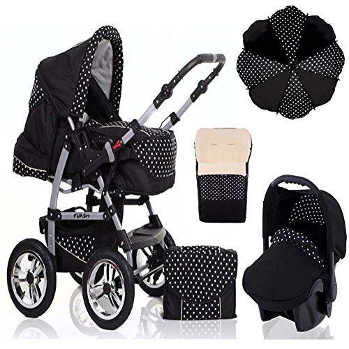 17-teiliges-Qualitts-Kinderwagenset-5-in-1-FLASH-Kinderwagen-Buggy-Autokindersitz-Schirm-Winterfussack-all-inklusive-Paket-in-Farbe-SCHWARZ-POLKA