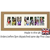 Personalised Create your own Custom 3 to 8 Letters Light Oak Wood Finish Photo Frame Name Frame Word Frame Birthday Picture Gift Present by Photos in a Word To Personalise tick the 'ORDERING AS A GIFT' box and Enter the name into the Gift Message Box, or you can 'Contact Seller' after checkout from (Your Account>Your Orders>Contact Seller).