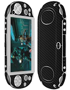 Skinomi® TechSkin - Sony PS Vita PCH-2000 Screen Protector + Carbon Fiber Black Full Body Skin Protector / Front & Back Premium HD Clear Film / Ultra High Definition Invisible and Anti Bubble Crystal Shield with Free Lifetime Replacement Warranty - Retai