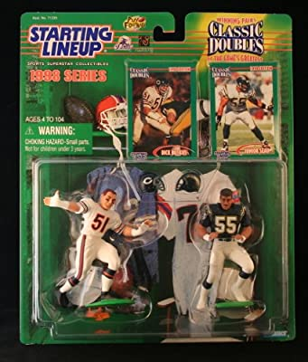 DICK BUTKUS / CHICAGO BEARS & JUNIOR SEAU / SAN DIEGO CHARGERS 1998 NFL Classic Doubles * Winning Pairs * Starting Lineup Action Figures & Exclusive Collector Trading Cards