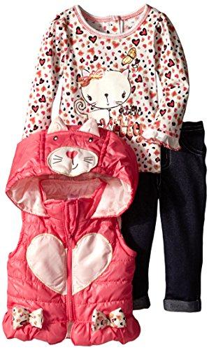 Nannette Baby Girls' 3 Piece Nylon Vest Set with Kitty Pullover, Orange, 12 Months