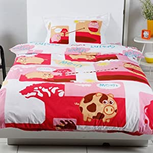 Amazon.com - DIAIDI Cartoon Happy Pig Duvet Cover Set, Queen Sheet ...