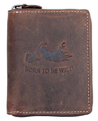 Naturale forte portafoglio in vera pelle Born to be wild force con un motocicletta