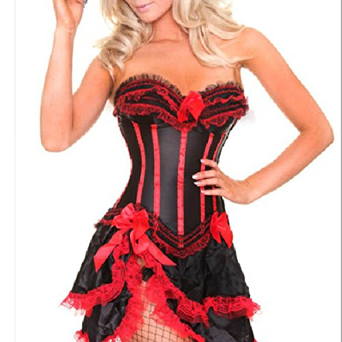 Burlesque Moulin Rouge Red Lace Corset Bustier/Mini skirt Women's Costume