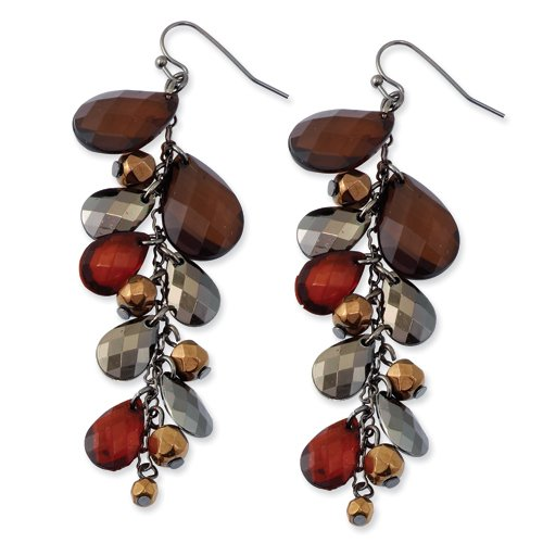 1928 Boutique Black-plated Smokey Brown Dangle Teardrop Earrings