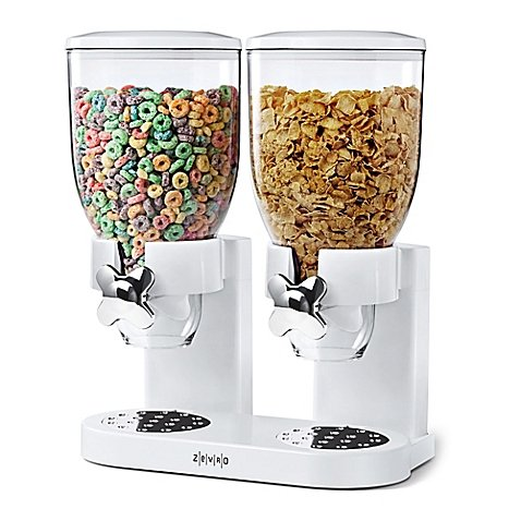 Zevro® Double IndispensableTM Cereal and Dry Food Dispenser in White (Cereal Dispenser Double compare prices)